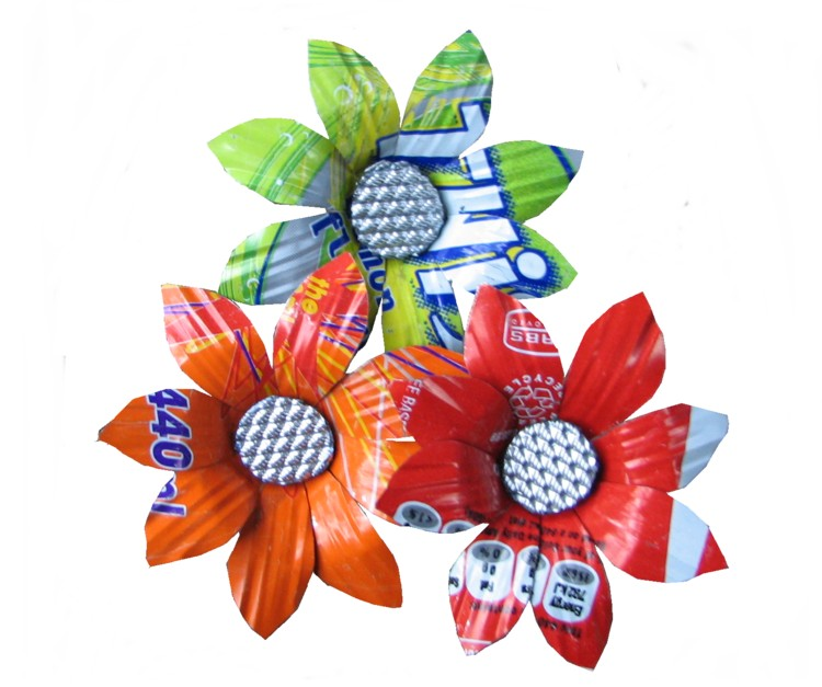 flowers made from recycled metal.ecogifts