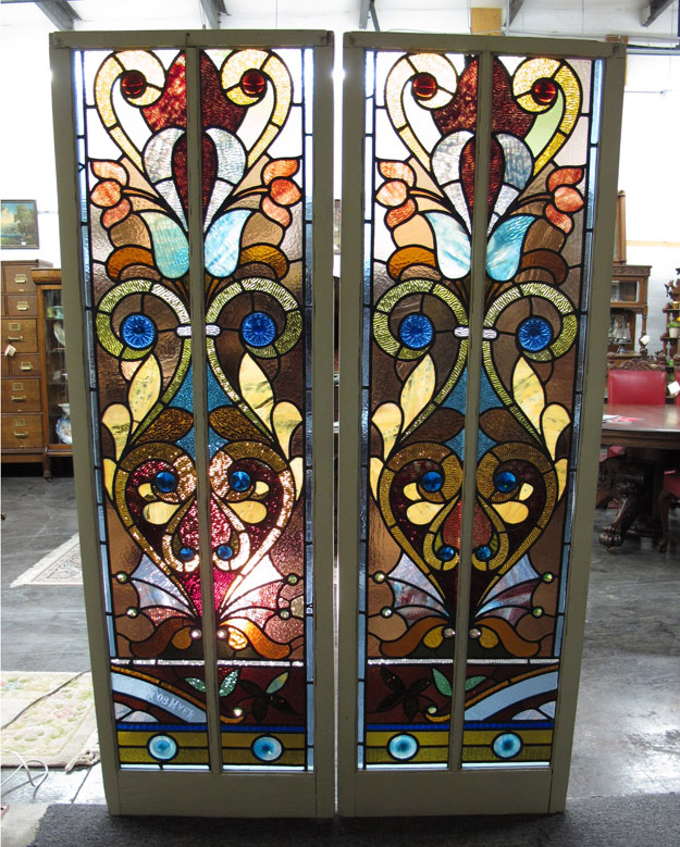 Antique Flat Top Stained Glass Windows