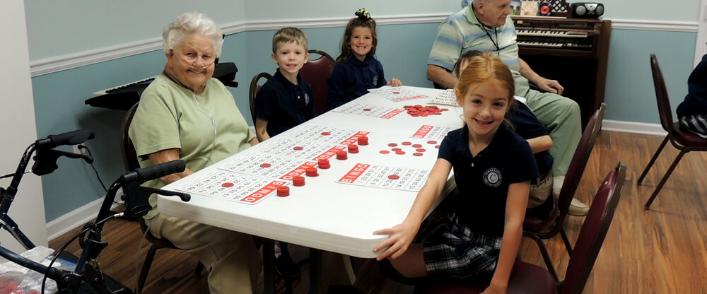 students playing bingo at assisted living