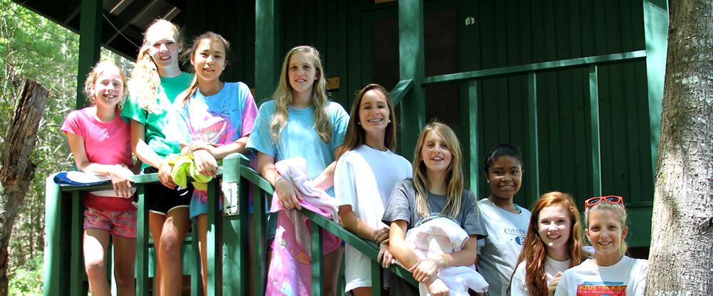 girls at retreat camping