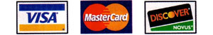We Accept Visa, Master Card and Discover