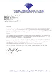 Recommendation Letter from First Baptist Church Atlanta