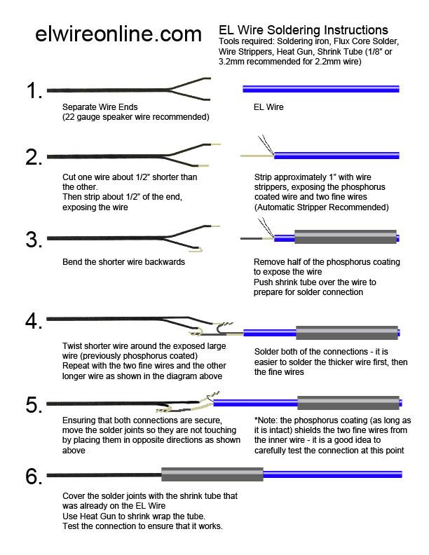 EL wire Soldering instructions