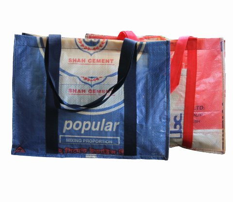 recycled cement bag shopping bag