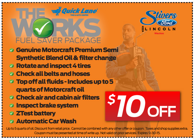 The Works Fuel Saver Package At Stivers Ford Lincoln Of Waukee Iowa.  Genuine Motorcraft Premium