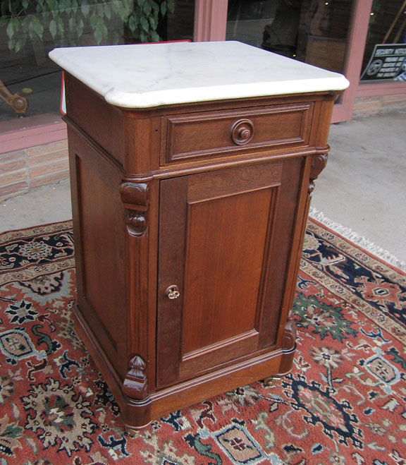 Walnut Victorian Marble Top One Half Commode