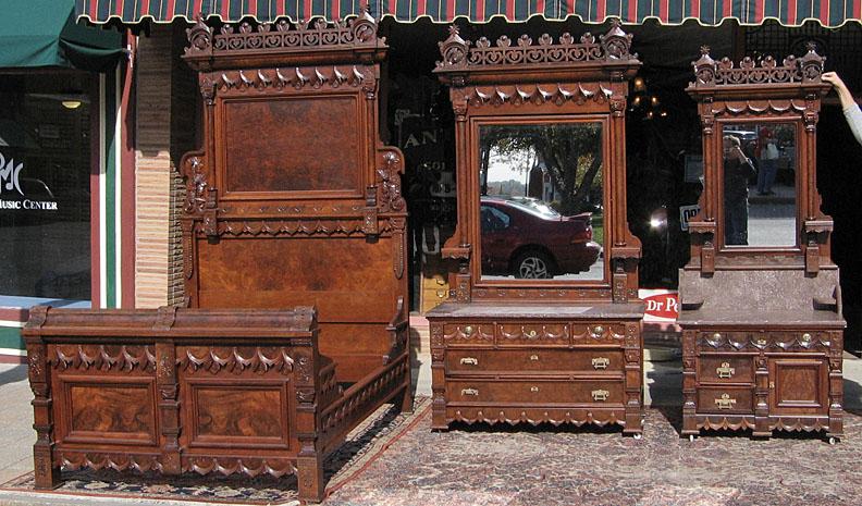 Walnut Victorian Aesthetic Movement Three Piece Bedroom Set