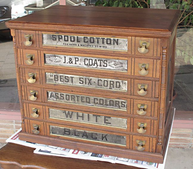 - J&P Coats 6 Drawer Walnut Spool Cabinet