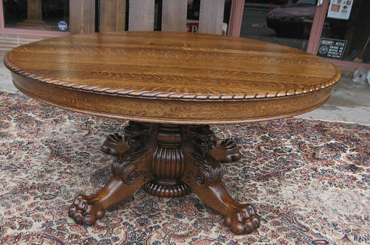 Quartersawn Oak Lion Headed Claw Foot Dining Table - Claw foot oak dining table
