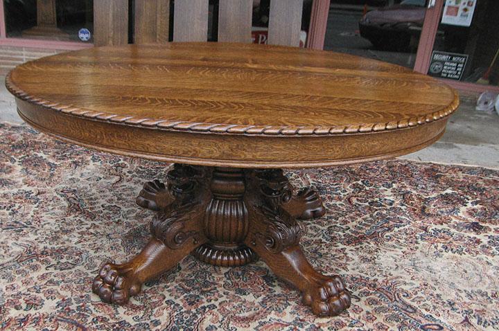 Quartersawn Oak Lion Headed Claw Foot Dining Table - Claw foot oak dining table