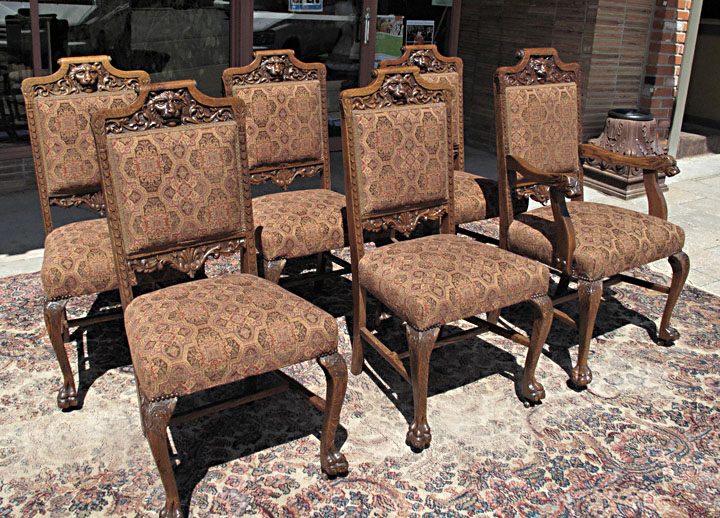 rj horner quartersawn oak lion head dining chairs rh bradfordsantiques com