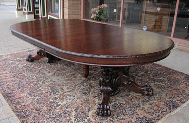 Ribbon Stripe Mahogany Lions Claw Foot Dining Table
