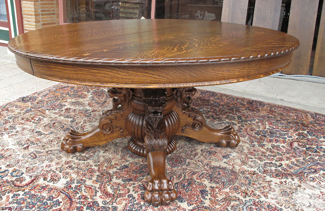 Hastings Antique Oak Dining Table With Lion And Claw Feet - Claw foot oak dining table