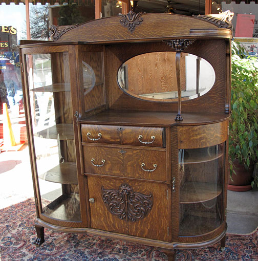 - Rare Quartersawn Oak China Buffet
