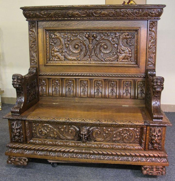 Superb Early R J Horner Quartersawn Oak Hall Seat Bench Lamtechconsult Wood Chair Design Ideas Lamtechconsultcom