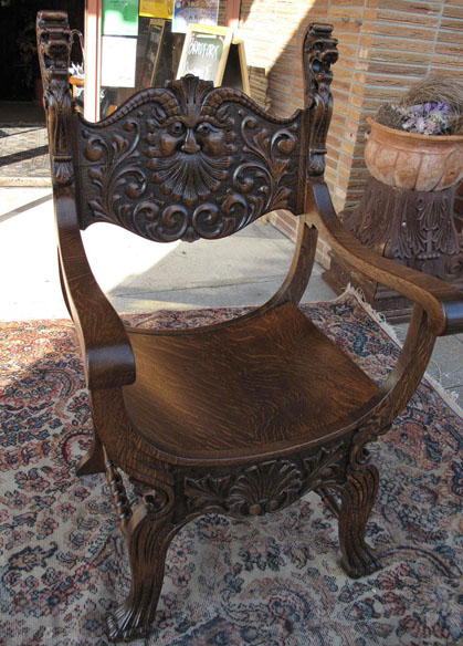 - North Wind And Lion Oak Throne Chair