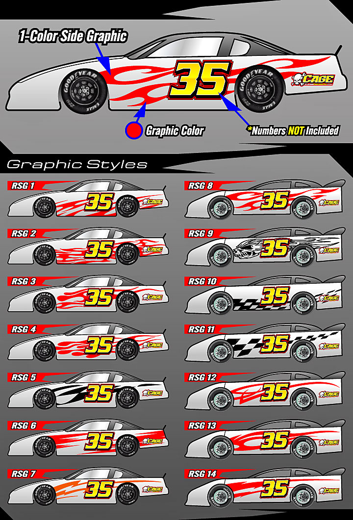 Cage Graphix Race Car Graphics Race Car Numbers 1