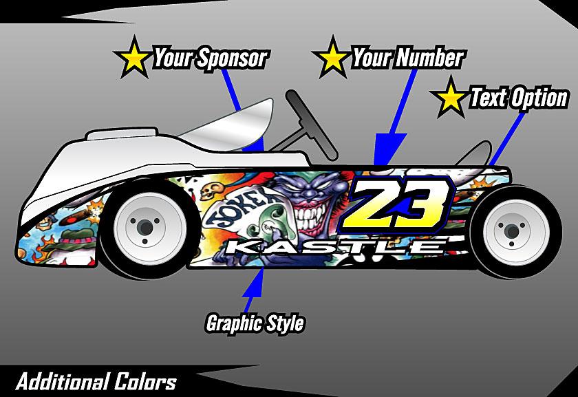 Cage graphix race car graphics race car numbers kart wrap tattoo skull