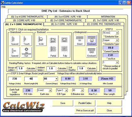 Sceenshot of Cable Calculator in CalcWiz