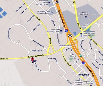 Map to 43471 Ridge Park Drive, Suite D, Temecula, CA 92590
