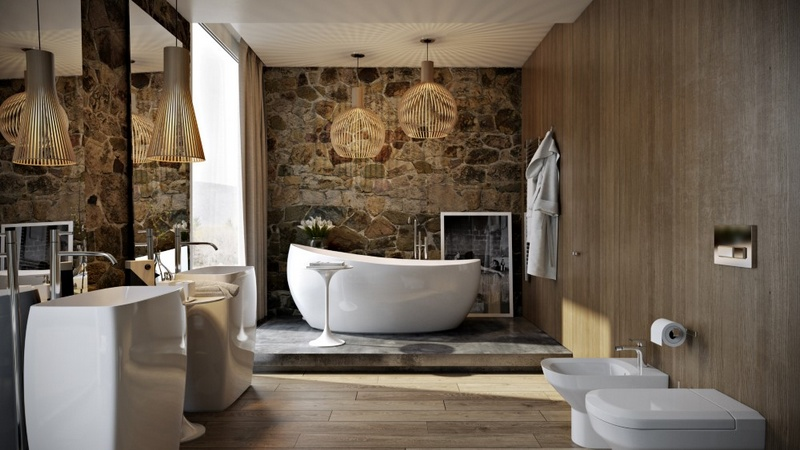 Stone and wood bathroom remodel