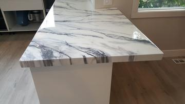 Faux white marble epoxy countertop
