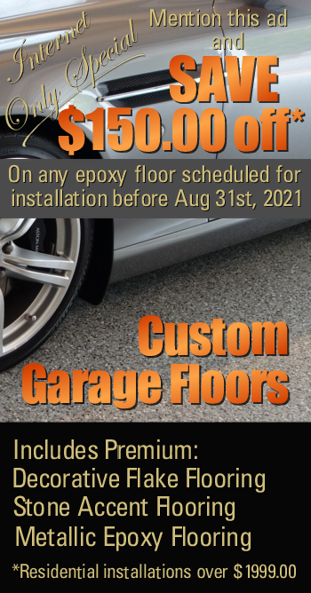 Save $150 off any epoxy floor installation includes flake, quartz and reflector flooring