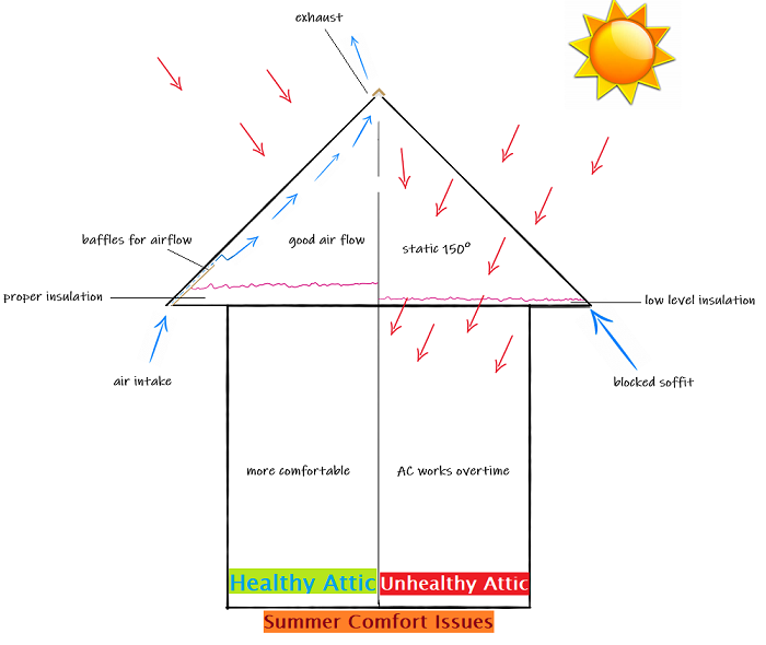 Healthy attic vs. unhealthy attic Maryland climate