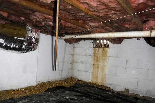 Inside look at a crawl space vent.