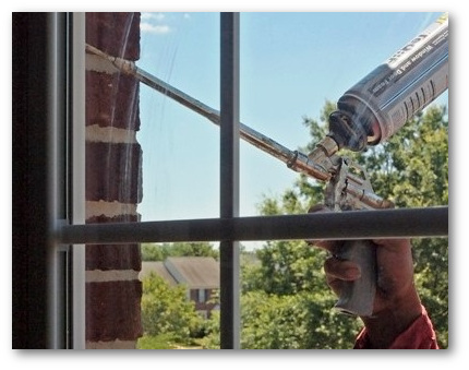 Foam sealed replacement windows
