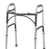 """Drive Adult, Deluxe Folding Walker, Two Button with 3"""" Wheels"""