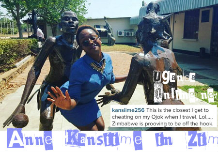 Anne Kansiime strikes a pose with the Zim statues