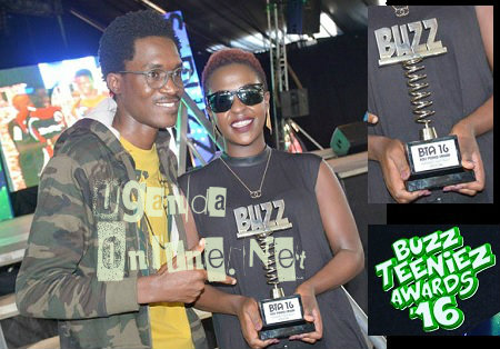 Apass and Lilian Mbabazi strike a pose with their award