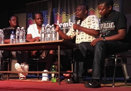 Bebe Cool in white at Bat Valley during the talk show