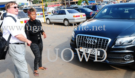 Bad Black and David Greenhalgh after handing her the keys to a brand new AudiQ5 some months back