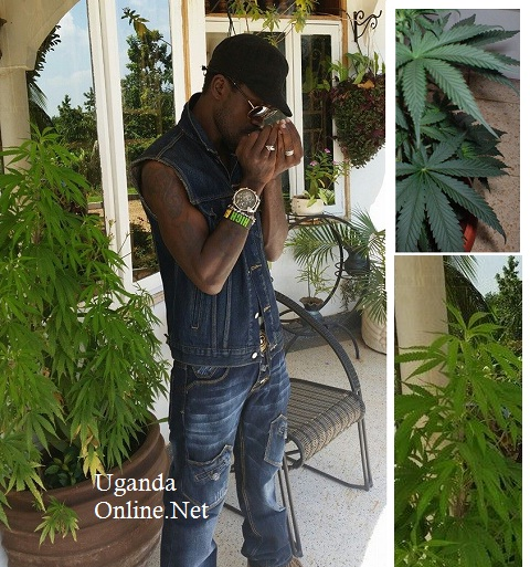 Bobi Wine at his home lighting up some herb