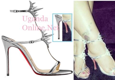 An original Christian Louboutin shoe compared with Zari's CL