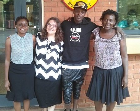 Chameleone with staff at the German Embassy in Kampala