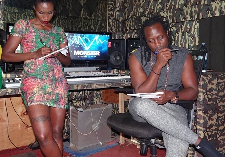 Cindy Sanyu and Bebe Cool at Monster Studio
