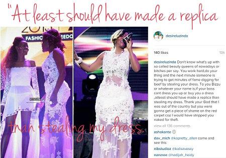 Desire Luzinda accuses Phiona Bizzu of stealing her dress