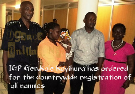 IGP Kale Kayihura with the parents of the tortured child at Naguru Police HQs