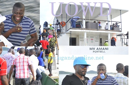 Ivan Ssemwanga in a striped T-Shirt during the last boat cruise.