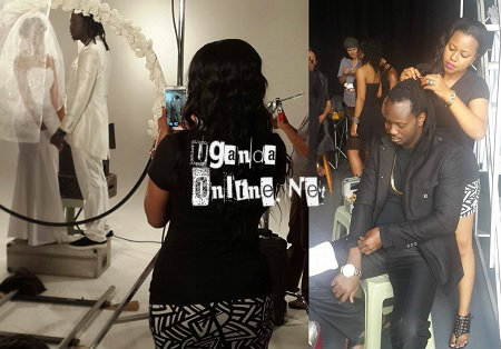First Zuena helps Bebe Cool with his hair and then she takes recordings of the scenes