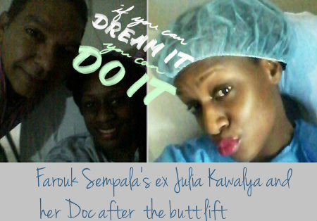 Julia Kawalya with he doctor after the butt enhancement injection