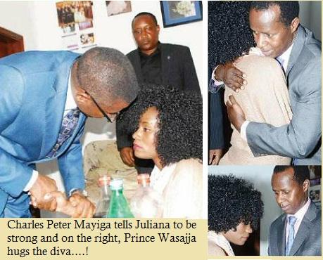 Charles Peter Mayiga and Price David Wasajja comforting Juliana