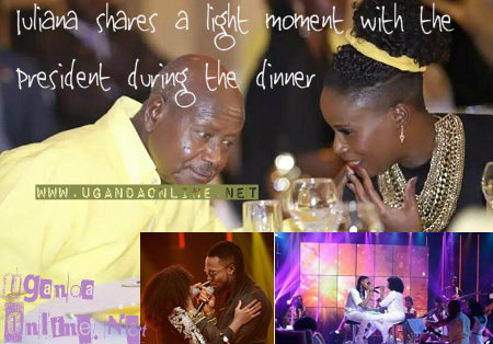 Juliana with the President and inset with Mr. Flavour