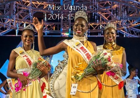 Miss Uganda 2015 waving as Taban Yasmin (2nd Runner Up and Brenda Iriama (1st) look on