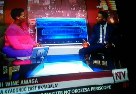 Bobi Wine explaining to the TV host what he intends to do once voted