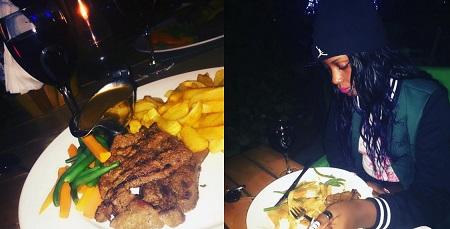 Leila feasting on chips n steak
