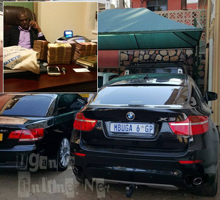 Mbuga rides and inset is him with a wad of cash